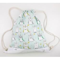 bolsa o mochila infantil colegio gato unicorn