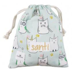 bolsa merienda personalizada niño niña cat unicorn