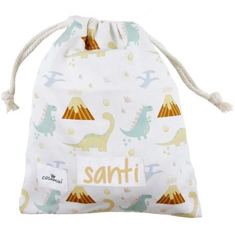 bolsa merienda personalizada niño niña dino