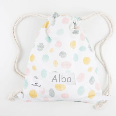 bolsa o mochila guarderia niño niña confeti