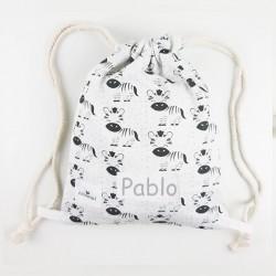 bolsa o mochila infantil merienda globos cebras