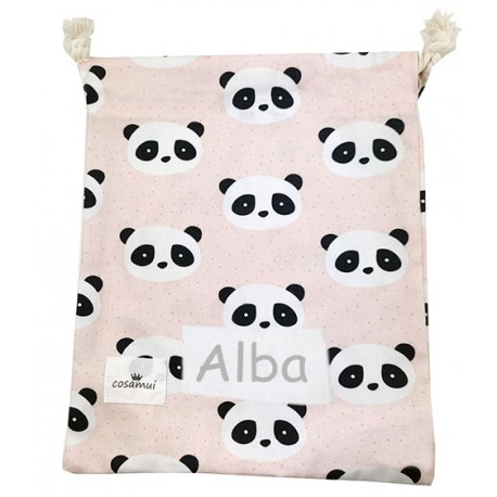 bolsa merienda infantil oso panda rosa