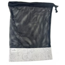 Bolsa de rejilla gris flores