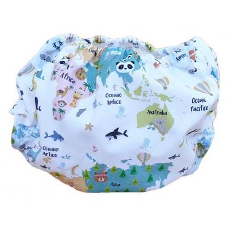cubrepañal braguita mapamundi animal