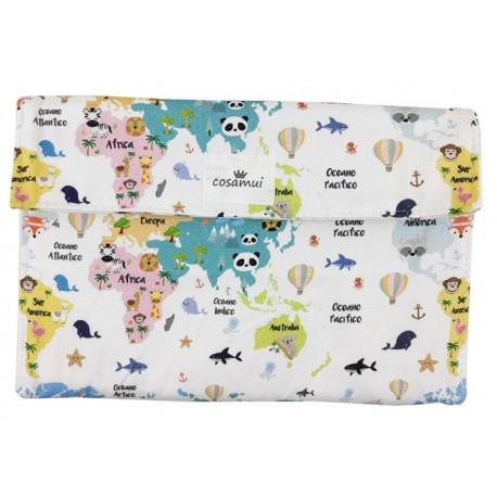 Portadocumentos bebé mapamundi animal