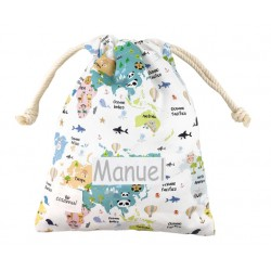 bolsa merienda infantil mapamundi animal