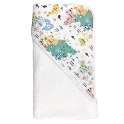 Toalla capa de baño recien nacido mapamundi animal
