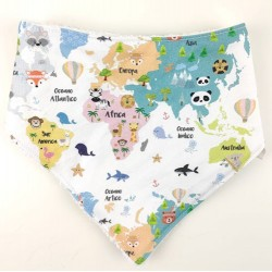 Bandana para bebé algodón mapamundi animal