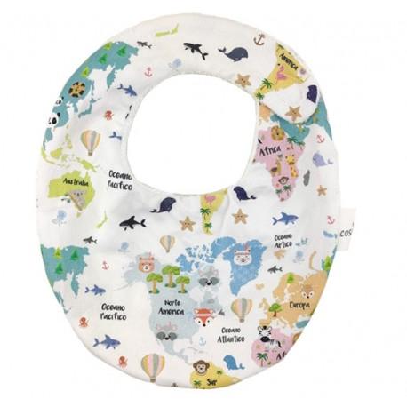 Babero para bebé mapamundi animal
