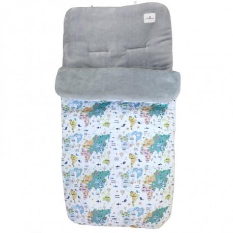 Saco invierno silla paseo bebé mapamundi animal