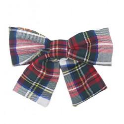 Maxi lazo mujer escocés blanco