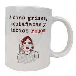Taza mujer personalizada frase dia gris