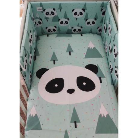 Funda Nórdica cuna panda mint